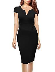 cheap -oxiuly women's v neck retro business stretch cotton pencil work midi dress ox173 - black -