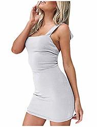 cheap -women's adjustable spagetti strappy split summer beach sexy midi dress lace up back bandage bodycon mini dress (white,s)