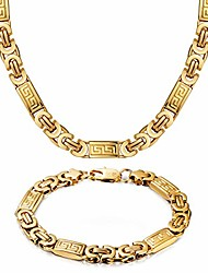 """cheap -MASARWA 18K Yellow Gold Filled Over Stainless Steel Necklace Byzantine Chain Bracelet Sets,22""""/8.46"""",Comes with Velvet Pouch"""