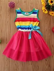 cheap -Kids Little Girls' Dress Striped Mesh Bow Red Knee-length Sleeveless Basic Cute Dresses Regular Fit