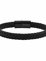 cheap -Men's Braided Genuine Leather Bracelet with Stainless Steel Magnetic Closure, Black