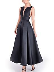 cheap -A-Line Minimalist Elegant Engagement Formal Evening Dress Jewel Neck Sleeveless Ankle Length Stretch Satin with Pleats 2021