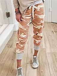 cheap -Women's Basic Loose Flare Sweatpants Pants Print Orange red Army green camouflage Gray