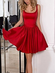 cheap -A-Line Minimalist Sexy Homecoming Cocktail Party Dress Scoop Neck Sleeveless Knee Length Satin with Bow(s) Pleats 2021
