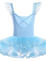 baratos -malha de babados para meninas balé dançando collant tutu saia vestido em camadas dancewear azul céu 3-4