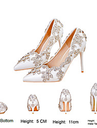cheap -Women's Wedding Shoes Stiletto Heel Pointed Toe Wedding Pumps Vintage Sexy Minimalism Wedding Party & Evening PU Rhinestone Crystal Sparkling Glitter Solid Colored Color Block White Ivory Silver