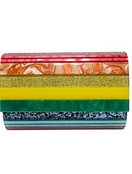 cheap -Women's Bags PU Leather Acrylic Evening Bag Chain Patchwork 2021 Party Date Green Rainbow Beige