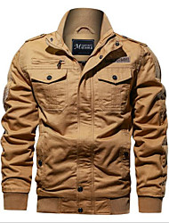 cheap -Men's Solid Color Winter Jacket Sports Outdoor Long Sleeve Polyester Coat Tops ArmyGreen