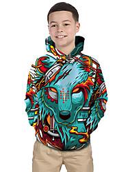 cheap -Kids Toddler Boys' Hoodie & Sweatshirt Long Sleeve Wolf Print Color Block Geometric 3D Print Green Children Tops Active Basic Christmas