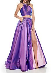 cheap -Two Piece Beautiful Back Sexy Wedding Guest Formal Evening Dress Halter Neck Sleeveless Sweep / Brush Train Taffeta with Pleats Split 2021