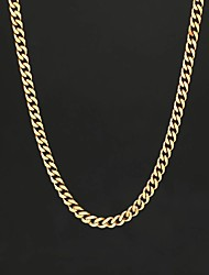 cheap -Men's Chain Necklace Cuban Fashion Stainless Steel Black Gold Silver 55 cm Necklace Jewelry 1pc For Gift Casual Street