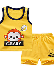 cheap -Kids Boys' Sleepwear Print Letter 2 Piece Print Yellow Beige Active Basic