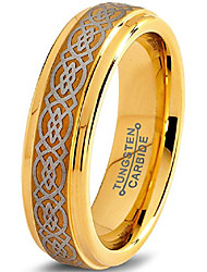 cheap -tungsten wedding band ring 6mm for men women comfort fit celtic knot 18k yellow gold plated step beveled edge brushed polished size 12.5