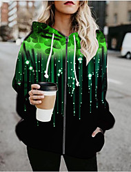 cheap -Women's Plants Print Active Spring &  Fall Hoodied Jacket Regular Daily Long Sleeve Air Layer Fabric Coat Tops Green