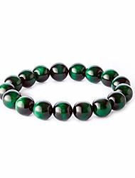 cheap -12mm tiger eye stone handmade beaded bracelet men's bracelet (green)