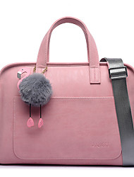 cheap -Women's Bags PU Leather Briefcase Zipper Office & Career Handbags Rose pink + flamingo pendant Elegant gray + flamingo pendant