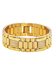 cheap -polished stainless steel micro link cz bracelet (gold-plated-stainless-steel)