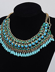 cheap -Women's Choker Necklace Collar Necklace Tassel Pear Vintage Boho Plastic Chrome Blue Yellow Blushing Pink Green Black 45 cm Necklace Jewelry For Christmas Halloween Party Evening Street Gift