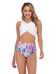 cheap -Women's New Cute Sweet Tankini Swimsuit Abstract Stripe Racerback Open Back Print Padded Normal Strap Swimwear Bathing Suits White / Bikini / 2 Piece / Tattoo