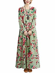 cheap -ladies dress floral print multicolored o-neck long sleeve vintage casual loose beach holiday dress