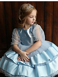 cheap -Princess / Ball Gown Knee Length Wedding / Party Flower Girl Dresses - Satin / Tulle Half Sleeve Jewel Neck with Bow(s) / Tier