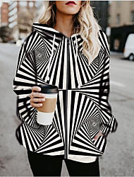 cheap -Women's Zipper Hoodied Jacket Regular Color Block Daily Black & White Black S M L XL
