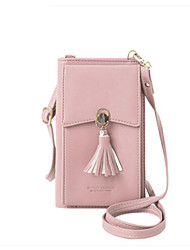 cheap -Women's Bags PU Leather Mobile Phone Bag Tassel Solid Color 2021 Daily Holiday Wine Black Blushing Pink Khaki