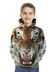 cheap -Kids Toddler Boys' Hoodie & Sweatshirt Long Sleeve Tiger Print Color Block Geometric 3D Print Brown Children Tops Active Basic Christmas