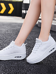 cheap -Women's Trainers Athletic Shoes Wedge Heel Round Toe Sporty Casual Athletic Outdoor Running Shoes Walking Shoes Swing Shoes Tissage Volant Lace-up Solid Colored White Red Black
