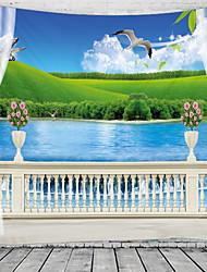 cheap -Window Landscape Wall Tapestry Art Decor Blanket Curtain Hanging Home Bedroom Living Room Decoration Lake Flower Garden Pastoral
