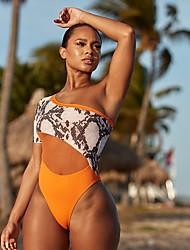 cheap -Women's New Fashion Tankini Swimsuit Color Block Animal Push Up Mesh Print Padded Normal V Wire Swimwear Bathing Suits Orange / One Piece