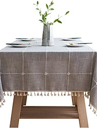 cheap -Checkered Embroidered Tablecloth Pure Color Cotton And Linen Cloth Tassels Rectangular Coffee Table Dining Table Mat