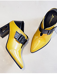 cheap -Women's Sandals Pumps Pointed Toe Block Heel Sandals Casual Daily Walking Shoes Faux Leather Solid Colored Black Yellow