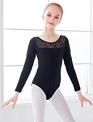 cheap -Ballet Leotard / Onesie Lace Ruching Split Joint Girls' Training Performance Long Sleeve High Spandex Lace