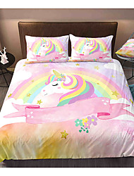 cheap -Cartoon Unicorn 3-Piece Duvet Cover Set Hotel Bedding Sets Comforter Cover with Soft Lightweight Microfiber, Include 1 Duvet Cover, 2 Pillowcases for Double/Queen/King(1 Pillowcase for Twin/Single)