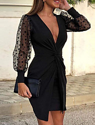 cheap -Sheath / Column Sexy Wedding Guest Cocktail Party Dress V Neck Long Sleeve Short / Mini Polyester with Draping Pattern / Print 2021