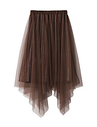 cheap -Women's Party Evening Ceremony Elegant Streetwear Skirts Solid Colored Beaded Split Black Blushing Pink Brown