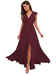cheap -A-Line Empire Minimalist Wedding Guest Prom Dress V Neck Sleeveless Floor Length Chiffon with Ruffles 2021