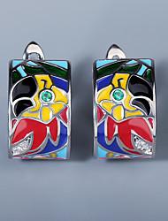 cheap -Women's AAA Cubic Zirconia Earrings Fancy Petal Colorful European Trendy Earrings Jewelry Silver For Gift Birthday Festival 1 Pair