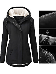 cheap -Women's Fall Winter Parka Parka Street Causal Daily Wear Casual Zipper Pocket Padded Solid Colored Faux Shearling Long Sleeve Black / Purple / Blushing Pink S / M / L