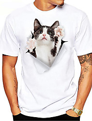 cheap -Men's T shirt Hot Stamping Animal Plus Size Print Short Sleeve Daily Tops 100% Cotton Basic Casual Black / White White Black