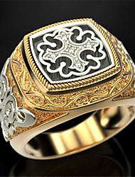 cheap -Band Ring Geometrical Black Gold Zircon Copper Gold Plated Precious Fashion Vintage 1pc 8 9 10 / Men's