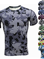 cheap -Men's Hunting T-shirt Tee shirt Camo / Camouflage Short Sleeve Outdoor Summer Ultra Light (UL) Well-ventilated Breathability Quick Dry Top Polyester Camping / Hiking Hunting Fishing Traveling Blue