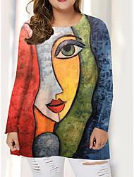 cheap -Women's Plus Size Tops T shirt Print Graphic Portrait Large Size Round Neck Long Sleeve Big Size