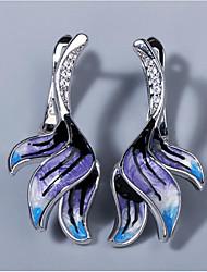 cheap -Women's AAA Cubic Zirconia Earrings Monogram Petal Elegant European Trendy Earrings Jewelry Silver For Wedding Gift Date 1 Pair