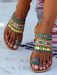 cheap -Women's Sandals Boho Bohemia Beach Flat Sandals Bunion Sandals Flat Heel Round Toe Boho Daily Beach PU Green