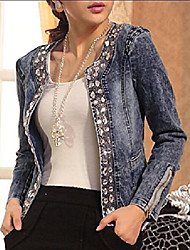 cheap -Women's Jacket Solid Color Denim Denim Fall Jacket Regular Causal Long Sleeve Denim Coat Tops Photo Color