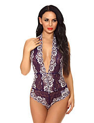 cheap -Women's Normal Backless Mesh Lace Super Sexy Chemises & Gowns Undergarments Lingerie Lingerie - Spandex Special Occasion Party / Evening Floral Solid Colored Bras & Panties Sets Purple Red Light Green