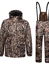 cheap -Men's Hoodie Softshell Pants Ski Suit Outdoor Thermal Warm Windproof Breathable Quick Dry Autumn / Fall Winter Camo / Camouflage Coat Top Bottoms Polyester Taffeta Softshell Polyester Camping