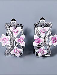 cheap -Women's AAA Cubic Zirconia Earrings Fancy Petal Elegant Fashion Korean Earrings Jewelry Silver For Anniversary Birthday Date 1 Pair